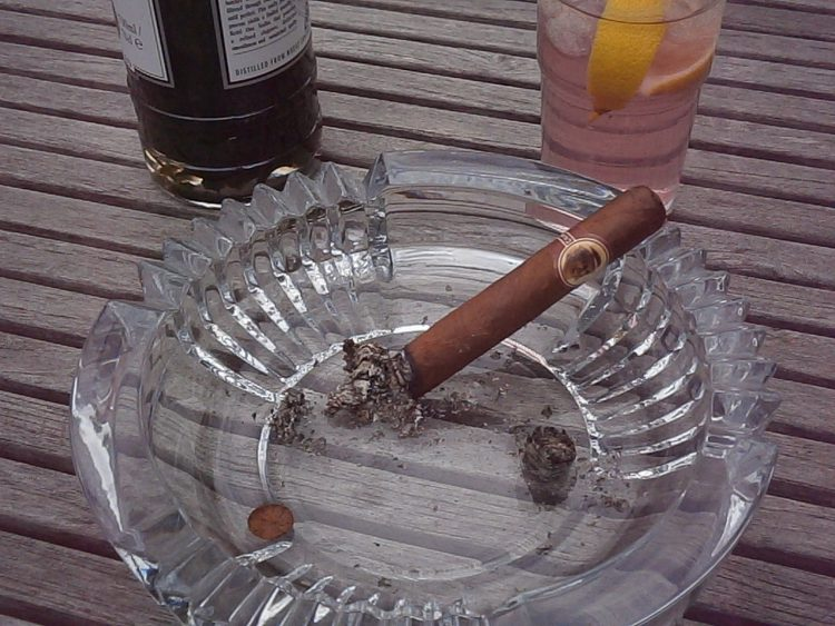 Montecristo No. 4 Compay 95 Aniversario Humidor partially burnt with a glass of shiso vodka and tonic