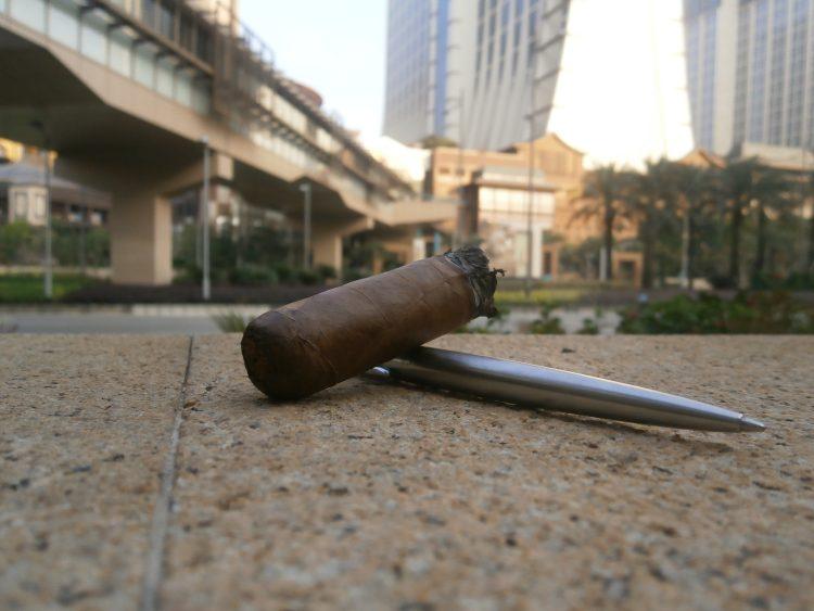 Partagás Serie D Especial Edición Limitada 2010, final third resting on a Parker pen