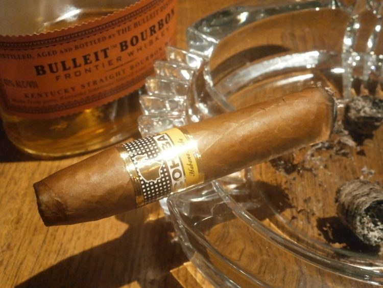 Cohiba Piramides Extra, two thirds remaining, with Bulleit Bourbon