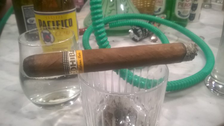 Cohiba Espléndidos with about an inch smoked